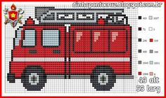 Vehicles fire engine cross stitch.