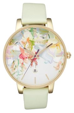 Free shipping and returns on Ted Baker Round Dial Leather Strap Watch, 40mm at Nordstrom.com. Lush blooms in soft pastel shades flourish on the gilded round dial of this femme watch with slender indices and a coordinating soft leather band.
