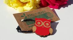 Wooden Ollie Owl badge lasercut from upcycled by BoughtoBeauty