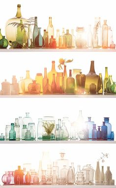 Love all the colors! Colored glass bottles. By:lauracaseyinteriors