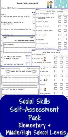 Social skills student self-assessments, goal setting & progress monitoring $