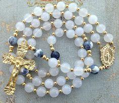 Catholic Rosary White Agate Beads Miraculous by GloriaRosaries