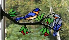 Resultado de imagem para birds on a branch stained glass pattern