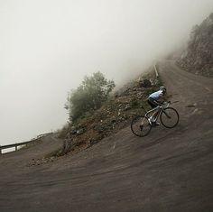 Sergi attacking Angliru in Spain. 4100ft 9.5% avg. for 8.2 miles. Trans-Cantabria Challenge.