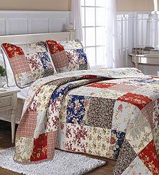 $139.95 aubree-cotton-floral-plaid-patchwork-reversible-bedspread-set