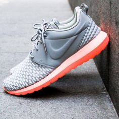 111b3a4b7717 Nike Roshe One Flyknit  Grey Orange Work Outfits