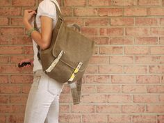 Waxed Canvas Backpack in Tan Vegan Rucksack Messenger by solaWu