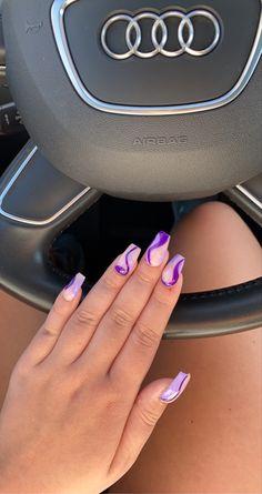 Purple Toe Nails, Acrylic Nails Coffin Pink, Summer Acrylic Nails, Purple Nail Designs, Basic Nails, Funky Nails, Fire Nails, Minimalist Nails, Dream Nails