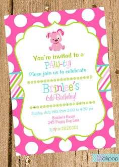 Pink Puppy Printable Invitation Dog Personalized Birthday Invite Blue And Green