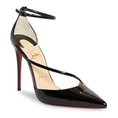 Women's Christian Louboutin Fliketta Pump (1,085 CAD) ❤ liked on Polyvore featuring shoes, pumps, black patent, black pumps, ankle strap pumps, black patent leather shoes, pointy toe pumps and christian louboutin pumps