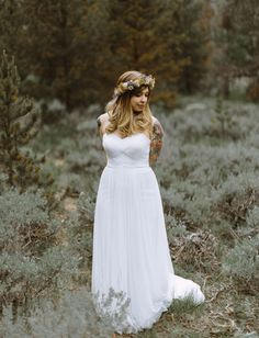 Galina Swiss Dot Tulle Empire Waist Soft Wedding Gown Style WG3438  photography: Levi Tijerina