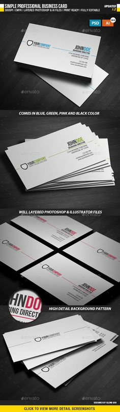 Simple Professional Business Card - Corporate #Business #Cards Download here: https://graphicriver.net/item/simple-professional-business-card/814153?ref=alena994