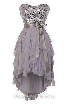 A-line Gray Prom Dress,Sweetheart Party Gowns,Chiffon Short/Mini Homecoming Dresses,High Low Cocktail Dresses,Cheap Prom Dresses