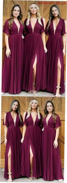 This dress could be custom made, there are no extra cost to do custom size and color, Long Deep V Neck Pleats Dark Red Chiffon Split Bridesmaid Dress Long Prom Dresses Burgundy Bridesmaid Dresses Long, Bridesmaid Dresses With Sleeves, Bridesmaid Dresses Online, Wedding Bridesmaid Dresses, Prom Dresses, Inexpensive Bridesmaid Dresses, Bridesmaid Ideas, Dress Prom, Dress Wedding