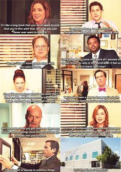 Office Finale All the absolutely AMAZING, extremely profound, final talking heads.  Their words here truly packed an emotional punch (in the very best way) to already extremely emotional viewers.  If you weren't emotional by this point then you were just a casual view not a true fan of this amazing show!