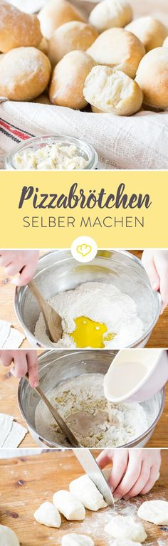 Pizzabrötchen so gelingen sie wie beim Italiener - Pizza rezepte Pizza Recipes, Bread Recipes, Dessert Recipes, Small Pizza, Pizza Rolls, Party Snacks, Bread Baking, Finger Foods, Italian Recipes