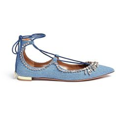 Aquazzura 'Christy' strass lace-up denim flats ($515) ❤ liked on Polyvore featuring shoes, flats, blue, laced up shoes, laced shoes, flat shoes, lace up shoes and denim flats
