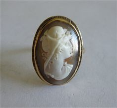 Fine Antique 14kt Gold Shell Cameo Ring by PattisCreationsNMore, $299.00