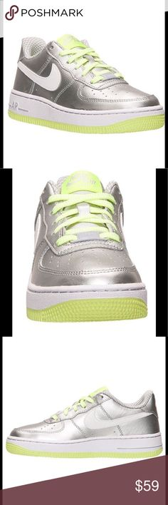 Air Force 1 Metallic Silver & Volt NWT NIB Air Force 1 Low Leather Sneaker 314219-012 in Metallic Silver & Volt.                                                      💯 Authentic                                                               Youth Size 7Y is a Women's 8.5                                     ❌Trades. ❌🐶❌🐱 Nike Shoes Sneakers