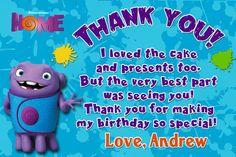 Dreamworks Home Movie Birthday Thank you card by XochitlMontana