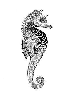 Moran Bazaz Black & White  Seahorse  http://society6.com/MoranBazaz/Seahorse-Oid_Print#1=45