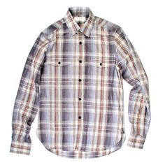 SAINT LAURENT SHIRT - 38 / 15 - SMALL - GREY & BLUE PLAID BUTTON UP