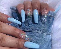 Acrylic Nail Set, Acrylic Nails Coffin Short, Cute Acrylic Nail Designs, Blue Acrylic Nails, Simple Acrylic Nails, Yellow Nail, Pastel Nail, Purple Nail, Ombre Nail