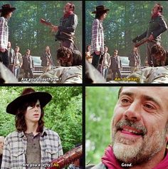 Negan and Carl 'The Day Will Come When You Won't Be' This was the saddest episode I have ever watched, I cried 😢😭 Carl The Walking Dead, The Walk Dead, Walking Dead Season, Negan And Carl, Twd 7, Dead Zombie, Carl Grimes, Dead Inside, The Day Will Come
