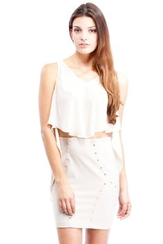 White Flutter Tank with a cute high waisted skirt