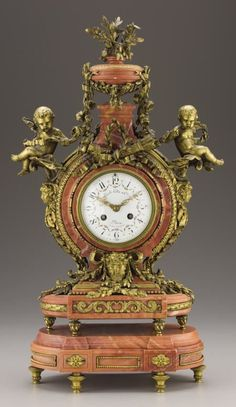 94209: A French Gilt Bronze & Pink Marble Mantel Clock : Lot 94209