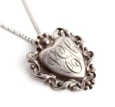 Vintage Initialed Heart Necklace  Sterling by MaejeanVINTAGE, $42.00