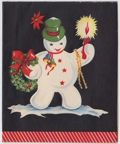 Vintage Greeting Card Christmas Snowman Candle Wreath e394