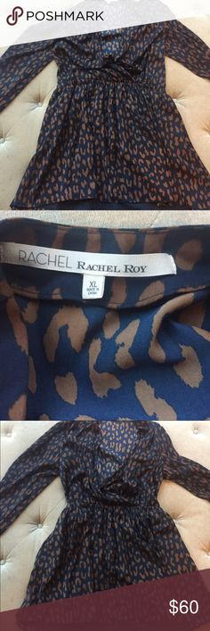 RACHEL BY RACHEL ROY WRAP DRESS XL Cute navy and brown XL faux wrap dress from RACHEL by Rachel Roy. Purchased it for myself and never wore it. Brand new and never worn and now it's too big for me. Hits above the knee can be dressed up or dressed down, great for work or play! Please do not hesitate to contact me with any questions. All items are authentic and come from a smoke free, pet free home. Thanks for looking! ❤️ Marissa Rachel Dresses Long Sleeve
