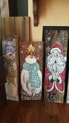 Handpainted snowman and santa on old barnwood etsy com shop fwackijackdesigns suzysfineart com Diy Christmas Decorations Easy, Christmas Wood Crafts, Christmas Signs, Rustic Christmas, Christmas Art, Christmas Projects, Winter Christmas, Holiday Crafts, Christmas Ornaments