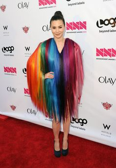 China Chow in Jeremy Scott, sporting The Great Wall of Polyester.