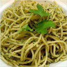 Espaguetis al Cilantro