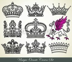 Vector: unique ornamental heraldic crown set