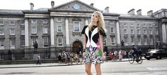 Laura Whitmore Launches Dublin Fashion Festival 2013. Pictured in front of Trinity College, Dublin, Ireland.