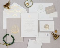 One of our most elegant designs, this royalty-sized invitation is the epitome of sophistication. Perfect for a black tie affair. Pricing Overview Set includes: One color invitation with gold foil stamped garland at top of invitation One color reply card printed on one side Mailing envelope with monogram on flap and return address printing White … Mailing Envelopes, Graphic Design Studios, School Photos, Queen, Letterpress Printing, Foil Stamping, Stationery Design, Paper Design, One Color