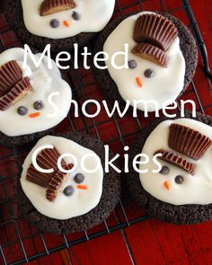 Melted Snowman Cookies - Chocolate shortbread cookies, with melted white chocolate, small Reese cups cut in half, chocolate chips or icing for eyes and sprinkle for carrot nose.