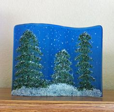 Pine Trees on a Snowy Night in glass by Rabbit Road Designs