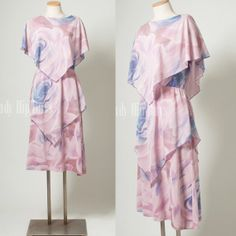 Vintage 70s Dress Sheer Geometric cape Tiered Dress by TrendyHipBuysVintage, $54.00