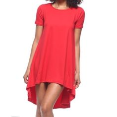 Red high low dress Red high low swing style tunic dress PLEASE USE Poshmark new option you can purchase and it will give you the option to pick the size you want ( all sizes are available) BUNDLE And SAVE 10% ( sizes updated daily ) Dresses