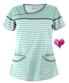 UA Sassy Stripes Cool Blue Scrub Top Style # UA658SYS  #uniformadvantage #uascrubs #adayinscrubs #scrubs #printscrubs