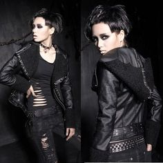 Women Black Studded Faux Leather Hooded Cyber Punk Biker Jacket Coat SKU-11401197