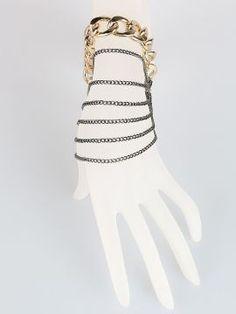 Gold And Black Multirow Chunky Chain Bracelet