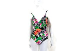 DeWeese Floral Print Maillot Style  1 pc Bathing Suit Vintage Swimwear Old Store Dead Stock Size 8