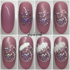 Here is a tutorial for an interesting Christmas nail art Silver glitter on a white background – a very elegant idea to welcome Christmas with style Decoration in a light garland for your Christmas nails Materials and tools needed: base… Continue Reading → Xmas Nail Art, Cute Christmas Nails, Xmas Nails, Christmas Nail Art Designs, Winter Nail Art, Holiday Nails, Winter Nails, Diy Nails, Cute Nails
