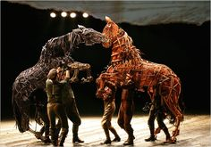 Handspring Puppet Company is the company behind the amazing puppets in War Horse. Featured in this picture is Joey (Right) and Topthorn (Left).