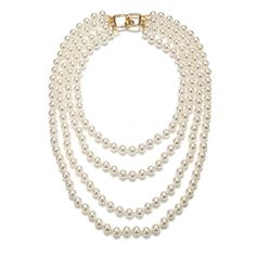Kenneth Jay Lane Layered Pearl Necklace ($60) ❤ liked on Polyvore featuring jewelry, necklaces, accessories, pearls, jewels, jewel necklace, pearl necklace, kenneth jay lane jewelry, layered necklaces and layered jewelry